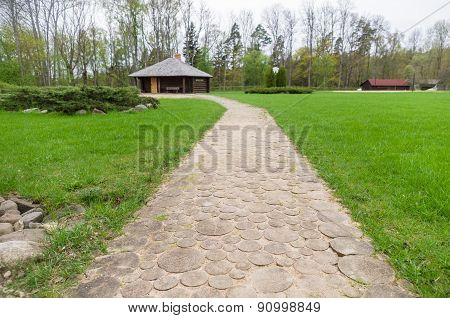 Wooden Walk Path In Recreation Camping Site