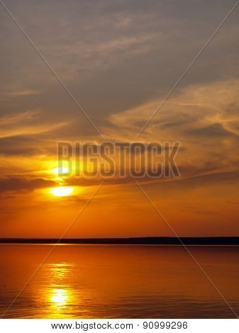 Summer Sunset On Lake