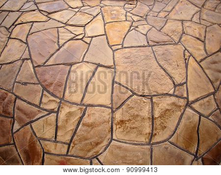 Decorative Stone Wall With Wide Angle Fisheye View