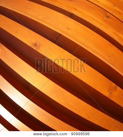 Wooden Boards Wall With Wide Angle Fisheye View