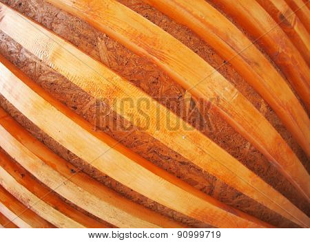 Wall Of Red Wooden Boards