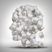 foto of addict  - Sugar addiction concept as a human head made of white granulated refined sweet cubes as a health care symbol for being addicted to sweeteners and the medical issues pertaining to processed food - JPG