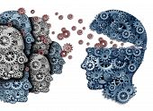 stock photo of common  - Employee training a group to lead and learn a team of workers learning from a leader sharing a common strategy and vision for developing work skills for success as gears and cogs shaped as a human head on a white background - JPG