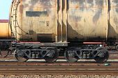 stock photo of train-wheel  - Freight train passing by with blur - JPG