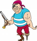 pic of pegging  - Cartoon Illustration of Funny Pirate Officer with Peg Leg and Gun - JPG