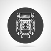 stock photo of sleeping bag  - Flat black round vector icon with white line hike rucksack with sleeping bag on gray background - JPG