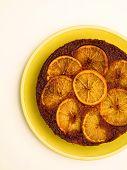 stock photo of upside  - close up of orange upside down cake - JPG