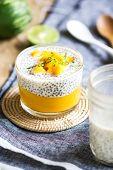 image of mango  - Chia in homemade soy milk with mango puree and mango chunk - JPG