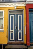 picture of front-entry  - Bright vivid beautiful colors traditional classical painted front wooden door - JPG