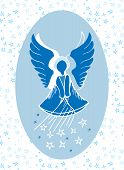 image of guardian  - Vector illustration of a guardian angel bestowing stars from above - JPG