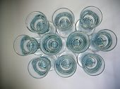 picture of scandinavian  - Arrangement of ten sturdy Scandinavian Aquavit glasses - JPG