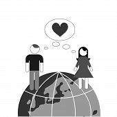 stock photo of long distance relationship  - illustration dedicated to the love on the earth - JPG