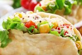 pic of tacos  - Tasty taco on plate close up - JPG