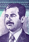 pic of iraq  - Engraved portrait of  Saddam Hussein from an old Iraq banknote - JPG