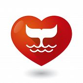 pic of whale-tail  - Illustration of a heart icon with a whale tail - JPG
