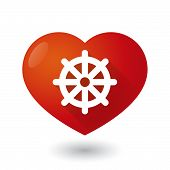 stock photo of dharma  - Illustration of a heart icon with a dharma chakra sign - JPG