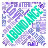 pic of abundance  - Abundance word cloud on a white background - JPG