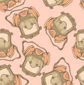 pic of respiratory  - Sketch respiratory mask in vintage style vector seamless pattern - JPG