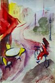 picture of french culture  - French  outdoor european cafe painting - JPG