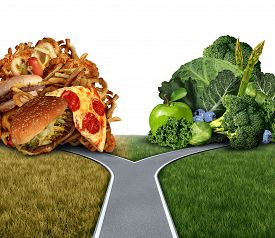 image of vegetable food fruit  - Diet dilemma decision concept and nutrition choices between healthy good fresh fruit and vegetables or greasy cholesterol rich fast food at a crossroad trying to decide what to eat for the best lifestyle choice - JPG