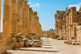 stock photo of cardo  - The Cardo Maximus street in Jerash ruins Jordan - JPG