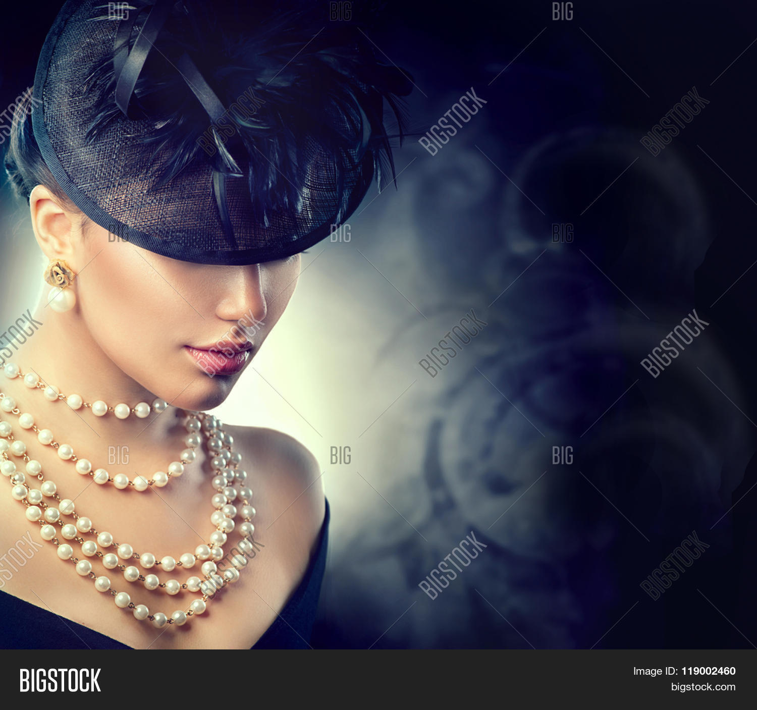 Retro Woman Portrait Vintage Style Girl Wearing Old Fashioned Hat, Pearls  Necklace And Earrings