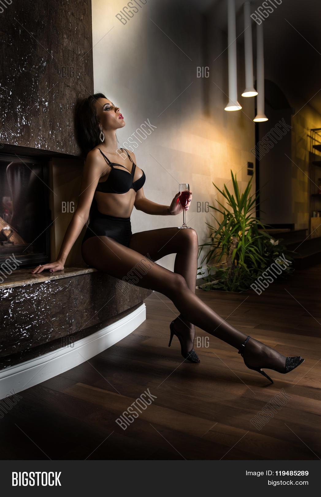 Beautiful Sexy Woman Glass Wine Image & Photo | Bigstock