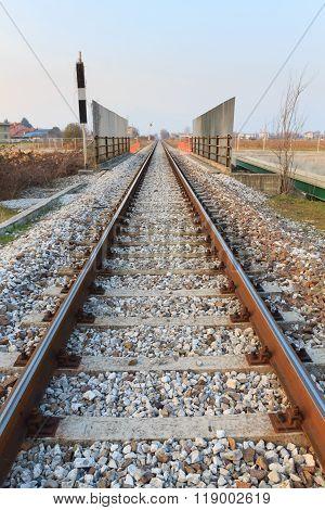 Train tracks in perspective. Transportation, outdoor. Steel rail