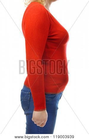 Chubby woman's body in red blouse and jeans isolated on white
