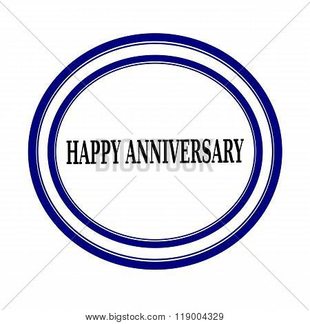 Happy Anniversary Black Stamp Text On White Backgroud