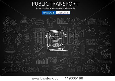 Public Transports concept wih Doodle design style :best routes, users satisfactions, gas saving. Modern style illustration for web banners, brochure and flyers.