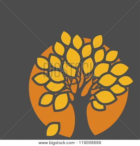 Stylized Abstract Orange Defoliation Tree Illustration