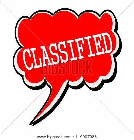 Classified White Stamp Text On Red Speech Bubble