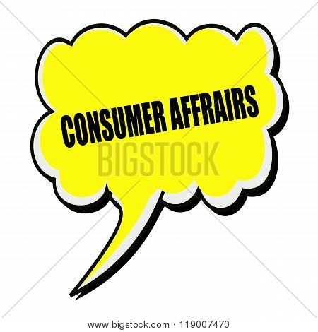 Consumer Affrairs Black Stamp Text On Yellow Speech Bubble