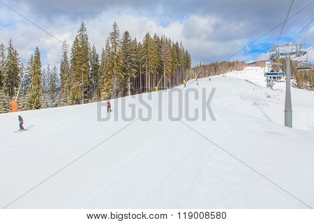 Skiers on the track
