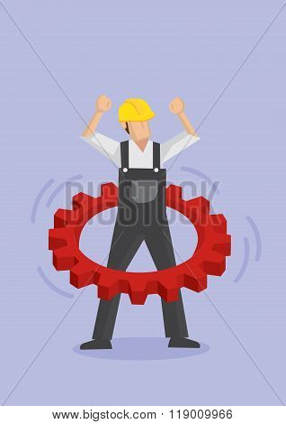Worker Using Cogwheel As Hula Hoop