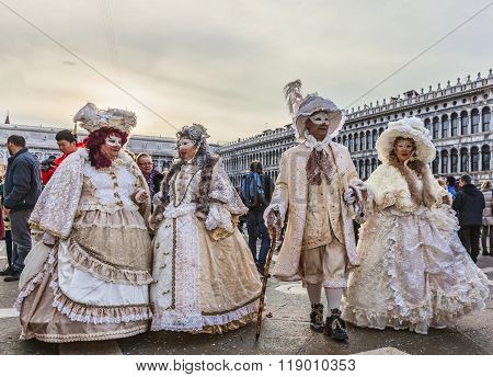 Group Of Disguised People - Venice Carnival 2014