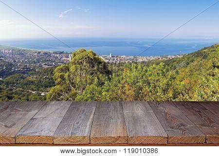 Empty Wooden Flooring Against The Black Sea