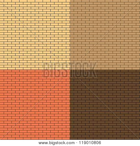 Set Seamless Texture of the Wall Facing the Brick. Illustration Background.