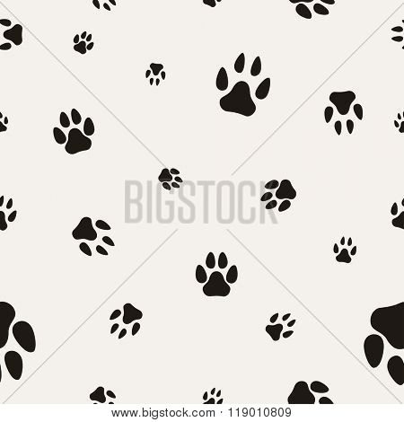 Animal Paw Print Isolated on White. Seamless Texture. Illustration