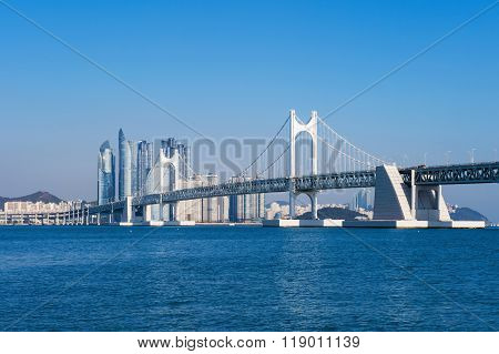 Gwangan Bridge And Haeundae In Busan,korea