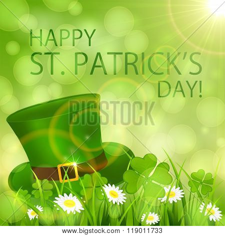 Sunny Patricks Day Background With Hat Of Leprechaun