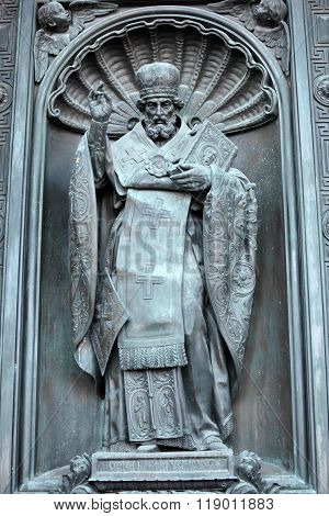 Saint Nicholas the bronze sculpture
