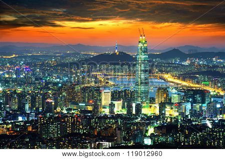 South Korea Skyline Of Seoul, The Best View Of South Korea With Lotte World Mall At Namhansanseong F