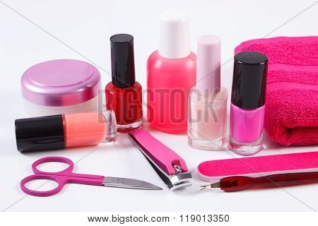 Cosmetics And Set Of Manicure Or Pedicure Tools, Concept Of Nail Care