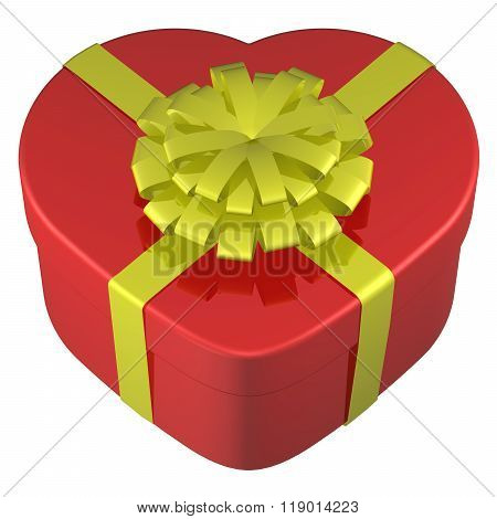Heart Shaped Box Tied Ribbon With A Bow