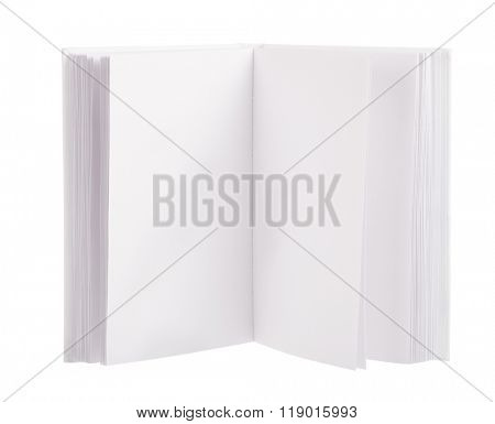 open blank book isolated on white background