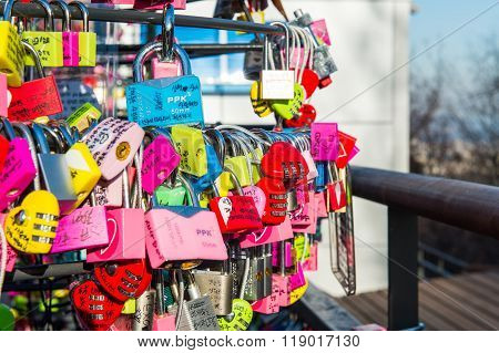 Love padlocks at N Seoul Tower.