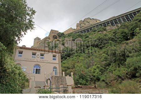 Montserrat, Spain - August 28, 2012: The Station Of Funicular Santa Cova At The Benedictine Abbey Sa