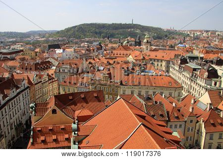 Prague, Czech Republic - April 24, 2013: View From Old Town Hall Tower To Mala Strana (lesser Town)